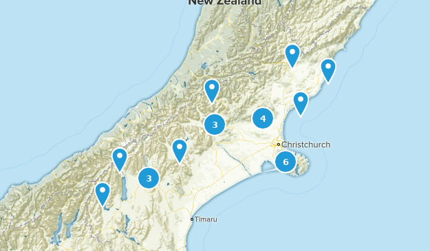 Canterbury, New Zealand Trail Running Map