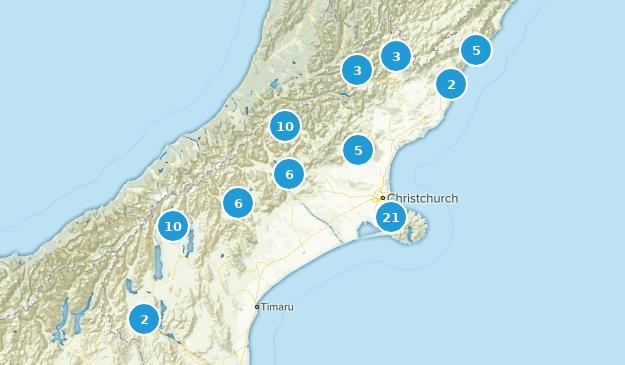Canterbury, New Zealand Walking Map