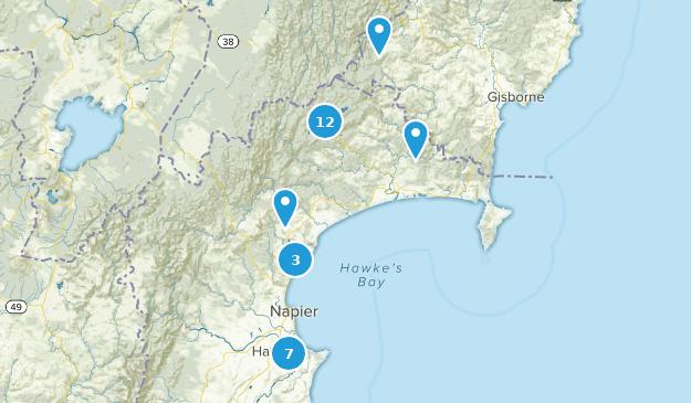 Hawke's Bay, New Zealand Hiking Map