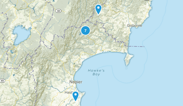 Hawke's Bay Region, New Zealand Parks Map