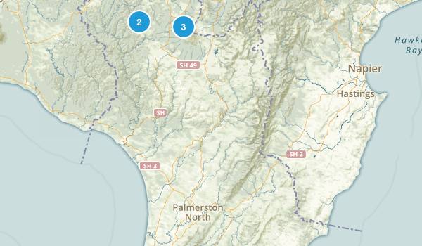Manawatu-Wanganui Region, New Zealand Backpacking Map