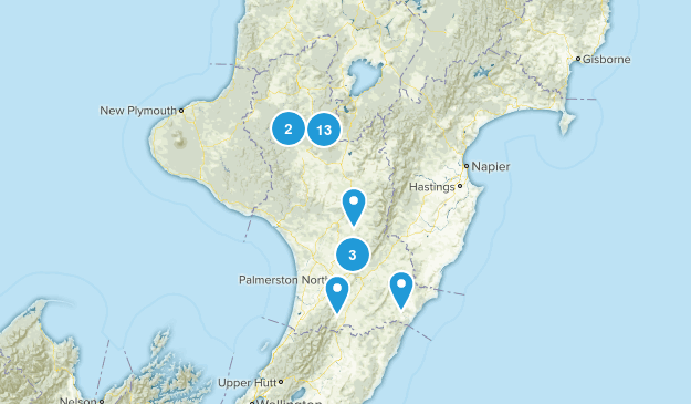 Manawatu-Wanganui Region, New Zealand Walking Map