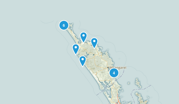 Northland Region, New Zealand Beach Map