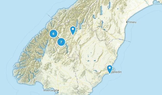 Otago Region, New Zealand Lake Map