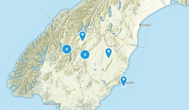 Otago Region, New Zealand Mountain Biking Map