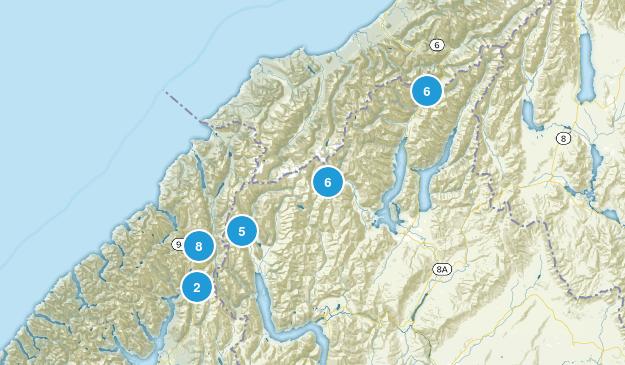 Otago Region, New Zealand National Parks Map