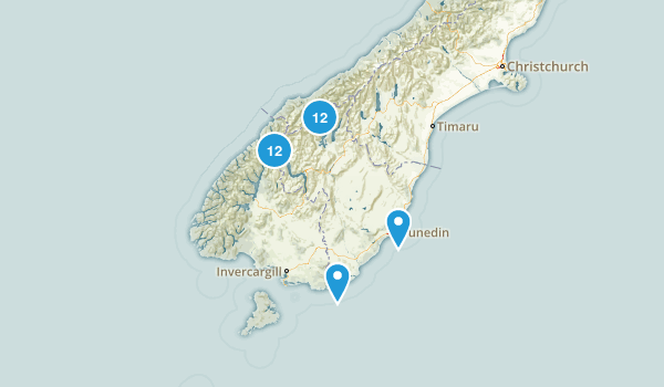 Otago Region, New Zealand Parks Map