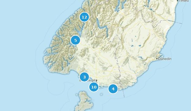 Southland, New Zealand Hiking Map