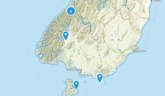 Southland Region, New Zealand Camping Map