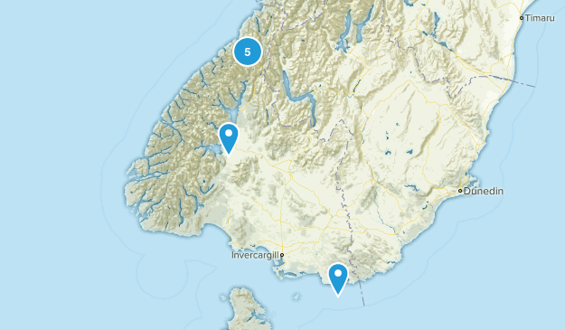 Southland Region, New Zealand Parks Map