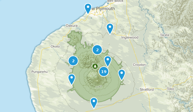 Taranaki Region, New Zealand Hiking Map