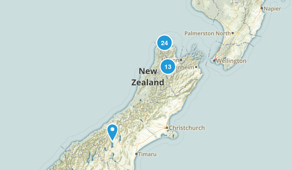 Tasman Region, New Zealand Hiking Map