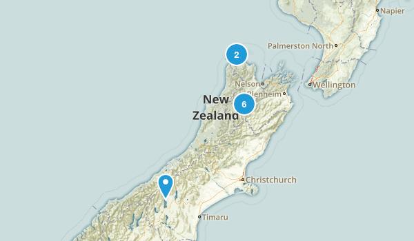 Tasman Region, New Zealand Lake Map