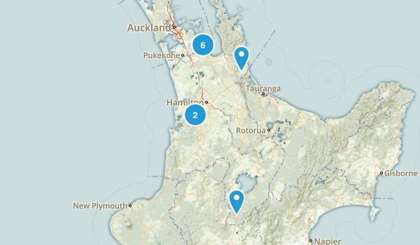 Waikato Region, New Zealand Parks Map