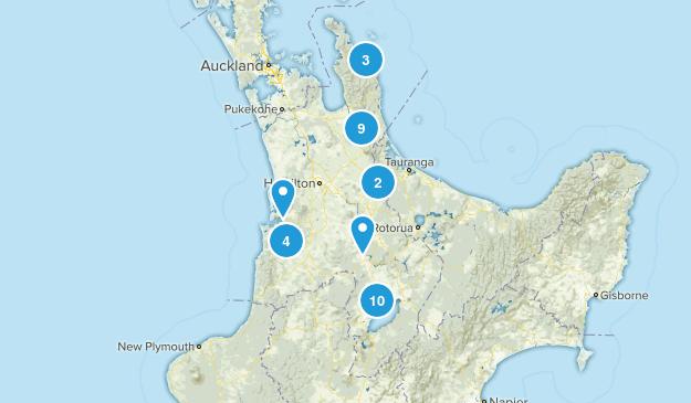 Waikato Region, New Zealand Walking Map