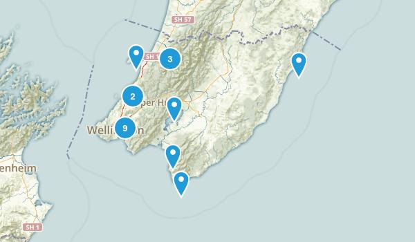 Wellington Region, New Zealand Hiking Map
