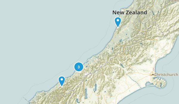 West Coast Region, New Zealand Beach Map