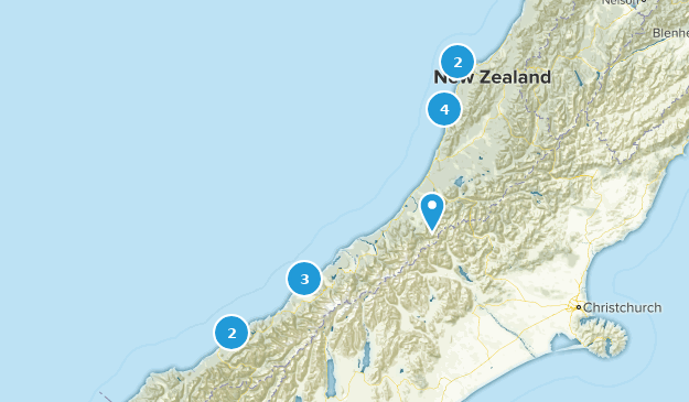 West Coast Region, New Zealand Beach Map