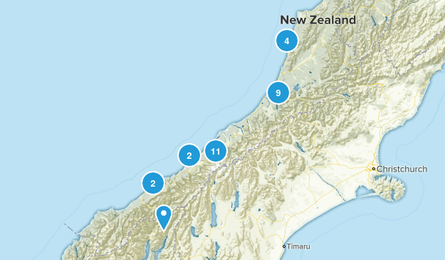 West Coast Region, New Zealand Birding Map