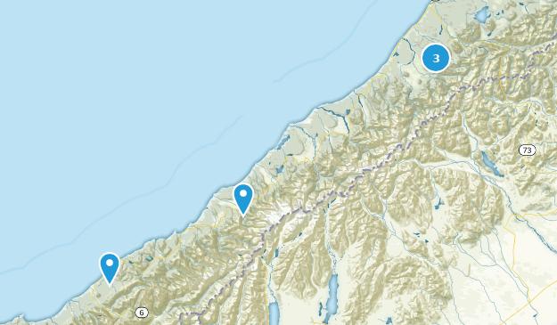 West Coast Region, New Zealand Lake Map