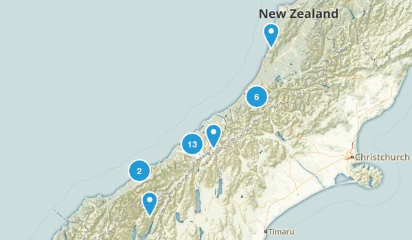 West Coast Region, New Zealand Nature Trips Map