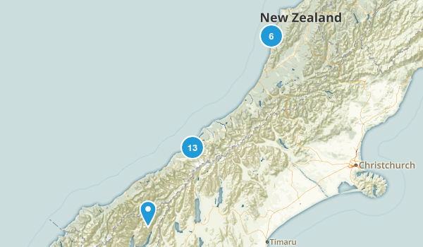 West Coast Region, New Zealand Parks Map