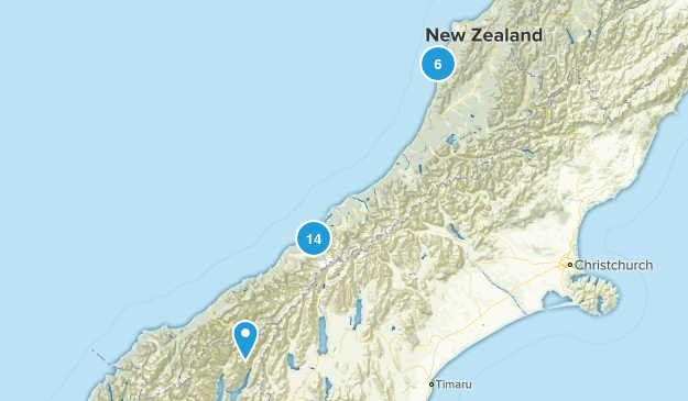 West Coast Region, New Zealand Parks Map