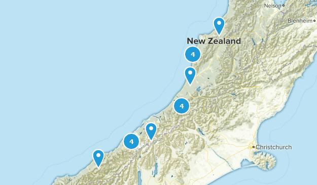 West Coast Region, New Zealand River Map