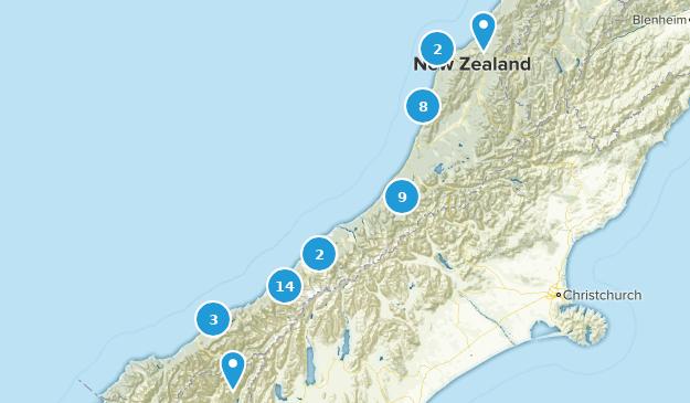 West Coast Region, New Zealand Views Map