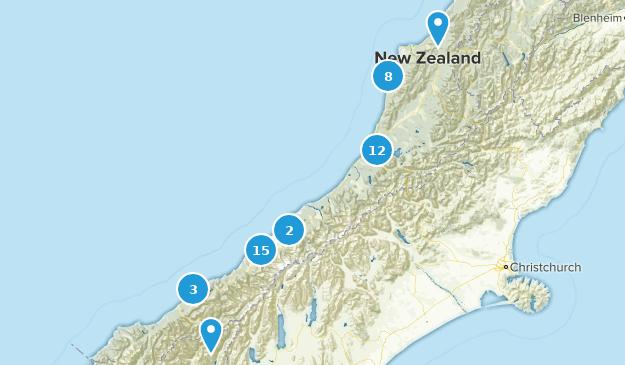 West Coast Region, New Zealand Walking Map