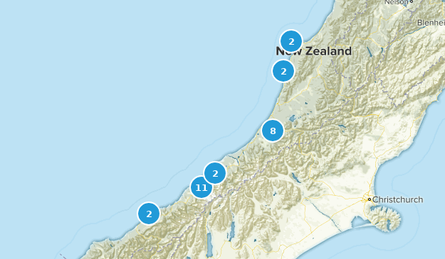 West Coast Region, New Zealand Wild Flowers Map
