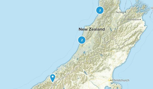West Coast, New Zealand Trail Running Map