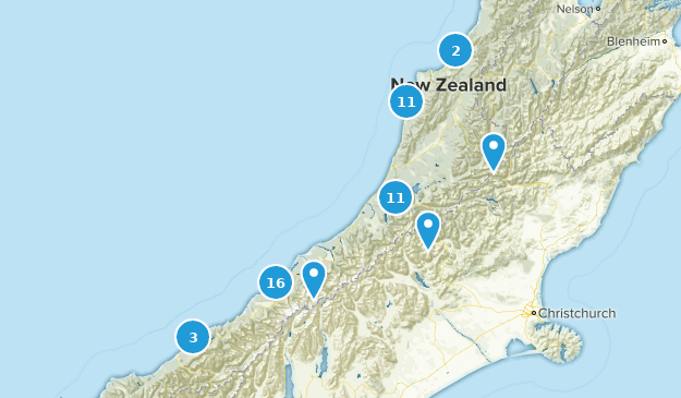 West Coast, New Zealand Walking Map