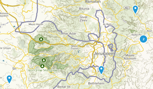 Jerusalem, Palestine Hiking Map