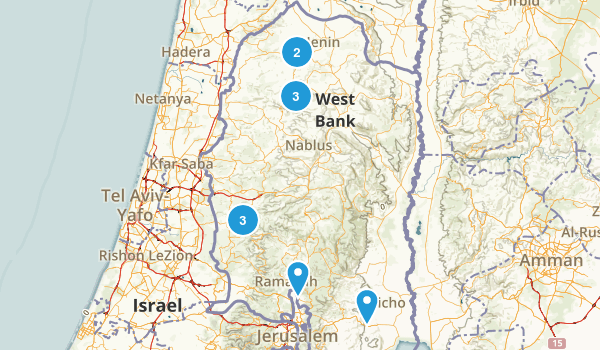 West Bank, Palestine Backpacking Map