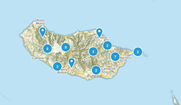 Madeira Island, Portugal Hiking Map