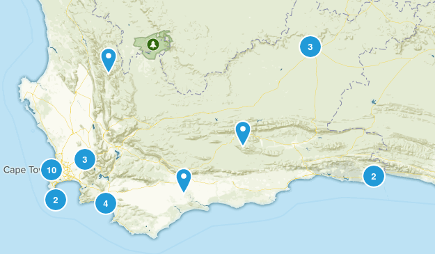 Western Cape, South Africa Parks Map