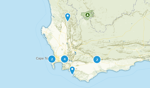 Western Cape, South Africa Waterfall Map