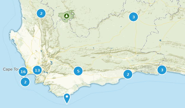 Western Cape, South Africa Wildlife Map