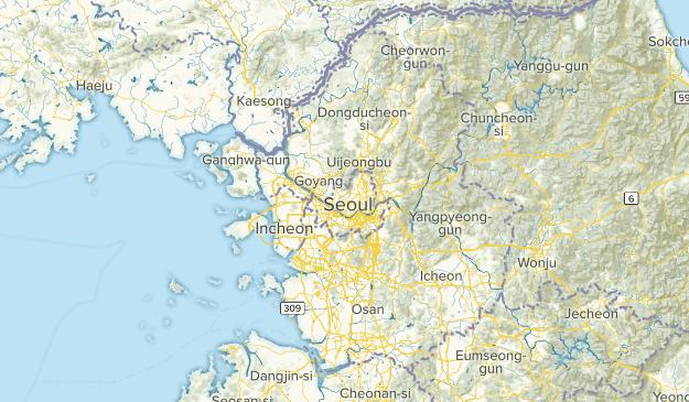Seoul, South Korea Parks Map