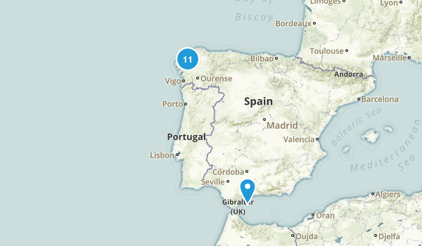 A Coruña, Spain Nature Trips Map