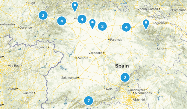Castile and León, Spain Hiking Map