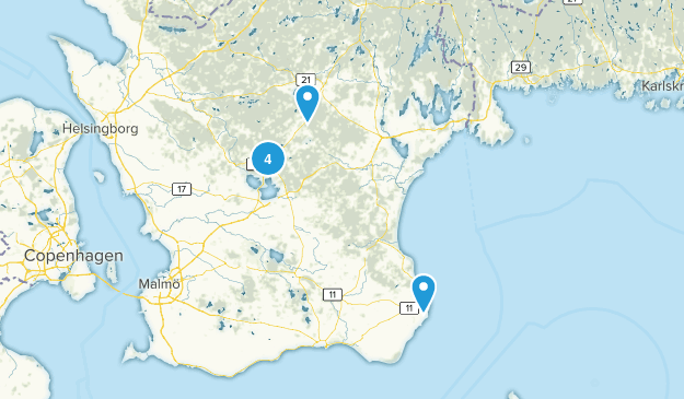 Skåne län, Sweden Nature Trips Map