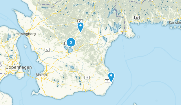 Skåne län, Sweden Walking Map