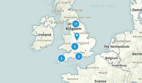 England, United Kingdom Backpacking Map