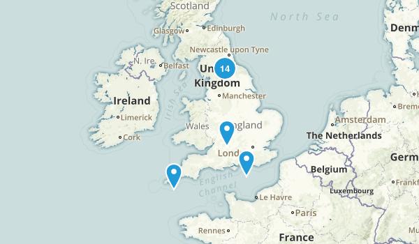 England, United Kingdom Camping Map