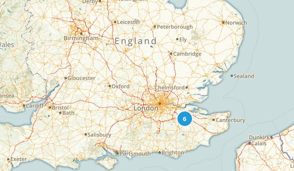 England, United Kingdom Rails Trails Map