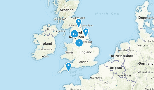 England, United Kingdom Waterfall Map