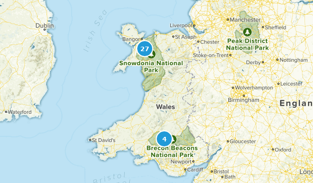 Wales, United Kingdom National Parks Map