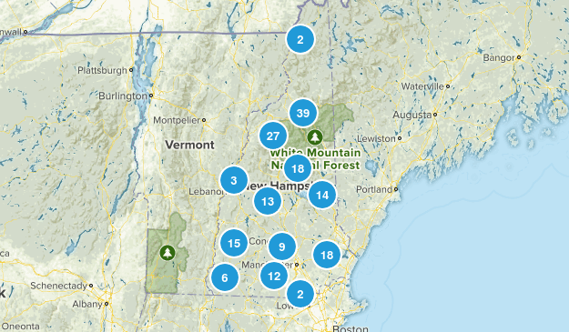 New Hampshire Snowshoeing Map